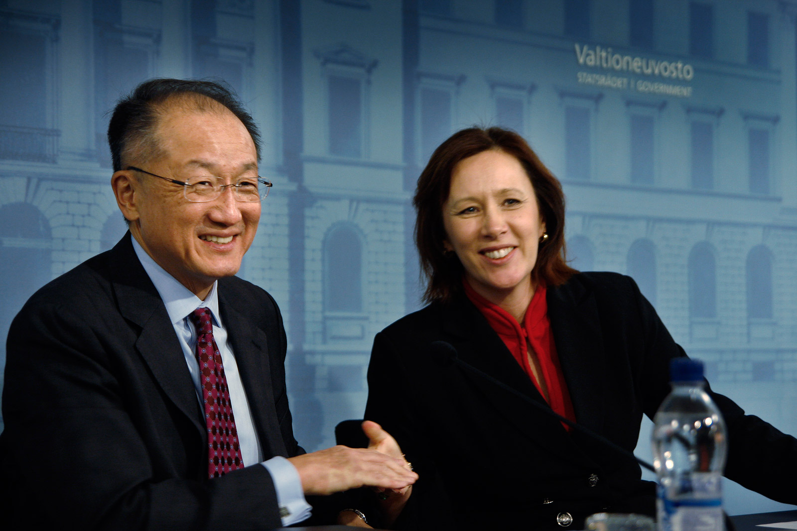 Jim Yong Kim, the president of World Bank, meets with Sirpa Paatero, the minister of international development, at the Government Palace, in Helsinki, Finland on Wednesday, February 11 2015. Picture: Tony Öhberg for Finland Today