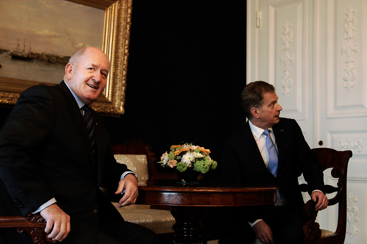 President Sauli Niinistö and Governor-General of Australia Sir Peter Cosgrove discussing at the Presidential Palace on April 28, 2016. Picture: Tony Öhberg for Finland Today