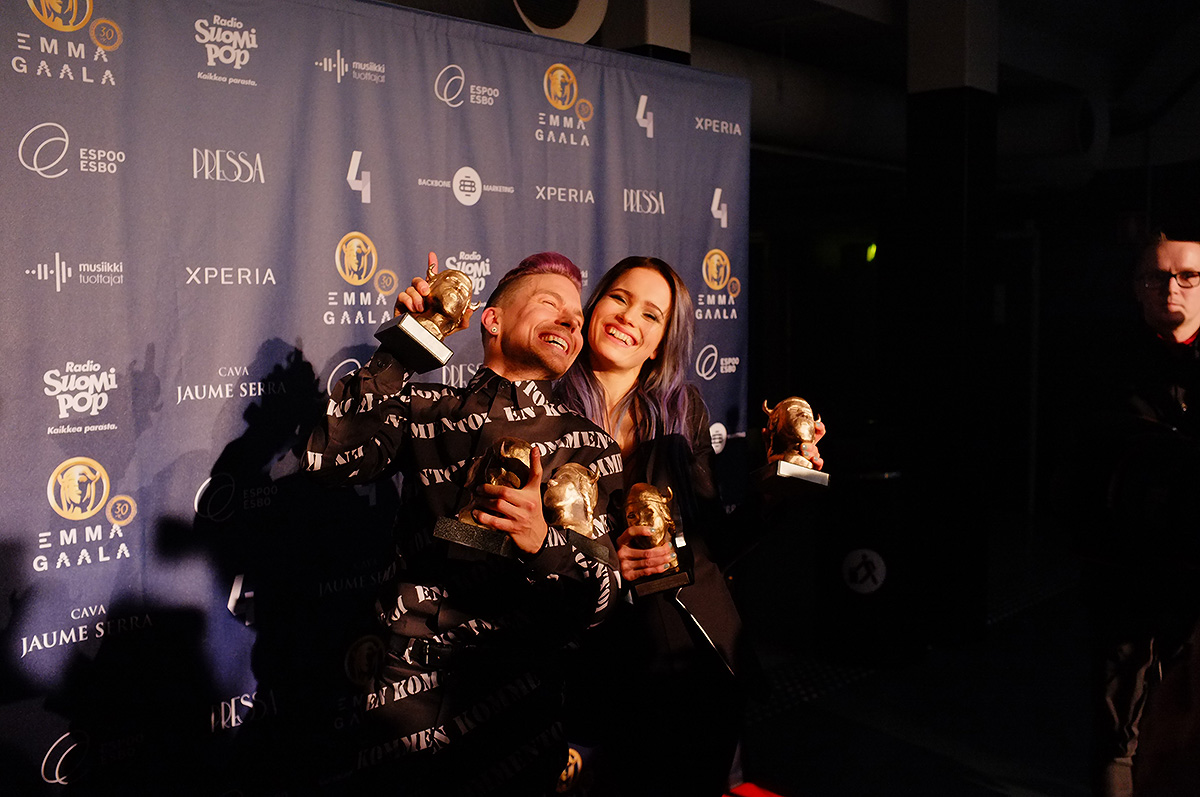 Antti Tuisku and Sanni celebrating their success at the Emma Gala at Espoo Metro Arena on Friday, March 11, 2016. Picture: Morgan Walker for Finland Today