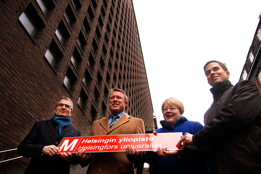 The mayor of Helsinki, Jussi Pajunen (left), rector of the University of Helsinki, Jukka Kola, HSL's managing director, Suvi Rihtniemi and HKL's managing director, Ville Lehmuskoski, holding the ceremonial nameplate at the renaming ceremony of Kaisaniemi metro station. Picture: Tony Öhberg for Finland Today
