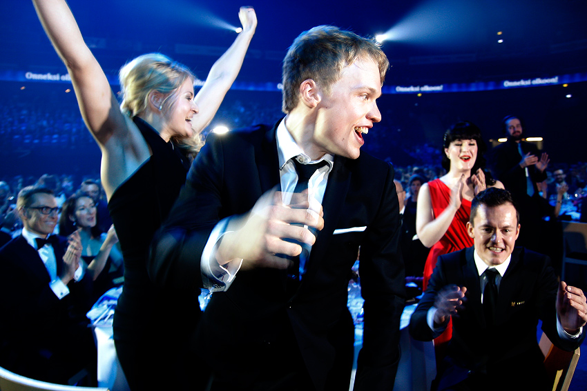 Iivo Niskanen and Sami Jauhojärvi (back) can't believe their ears when they were selected as the Athlete of the Year at the Finnish Sports Gala on at the Helsinki Arena on Tuesday 13 January 2015. Picture: Tony Öhberg for Finland Today