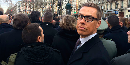 PM Alexander Stubb posing during the unity rally in Paris, France on January 11 2015. Picture: The Prime Minister's Office