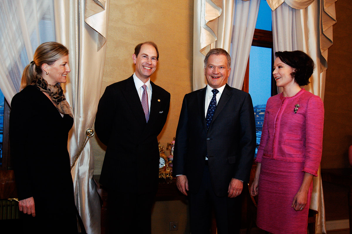 The Earl of Wessex, Prince Edward, and the countess, Sophie, smiling in a group photo with President Sauli Niinistö and his spouse, Jenni Haukio, late on Monday afternoon at the Presidential Palace on February 2 2015. Picture: Tony Öhberg for Finland Today
