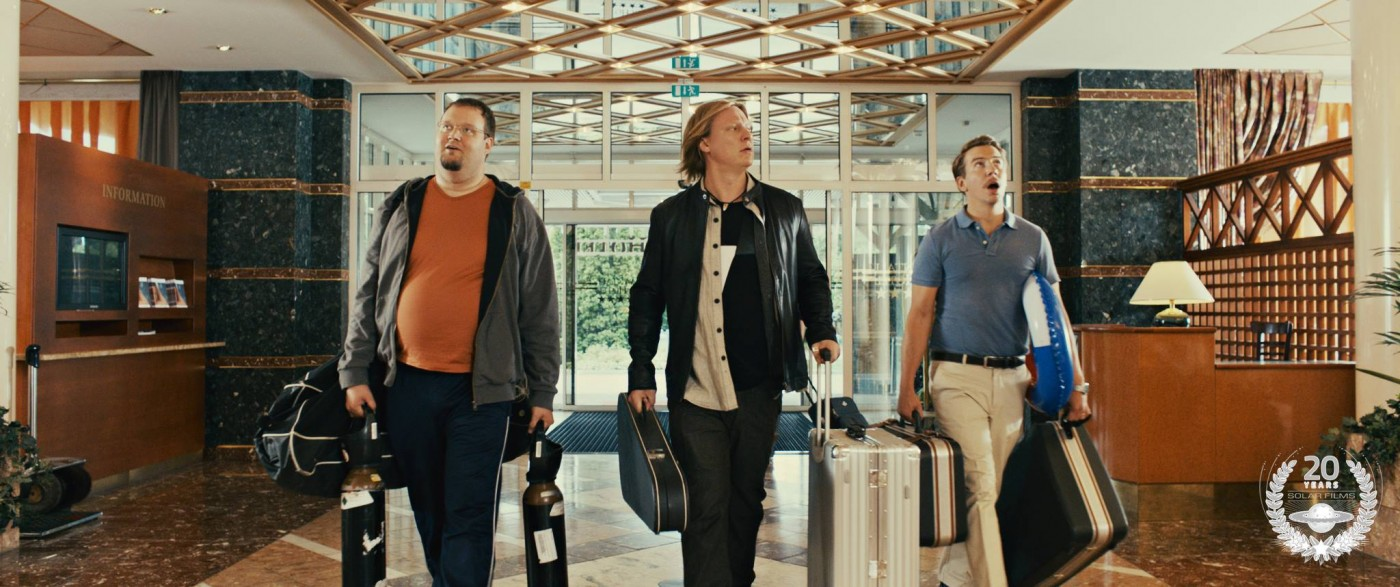 Antti (Sami Hedberg) (left), Tuomas (Jaajo Linnonmaa) and Niklas (Aku Hirviniemi) in the film 'Luokkakokous (The Class Reunion)'. Picture: Solar Films