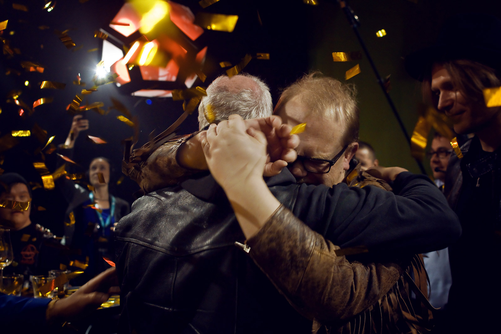 Sami Helle, the bass player from PKN, hugging his bandmate, the vocalist Kari Aalto, at the YLE studios on Saturday February 28 2015, after the band was announced as the Finnish representative for the Eurovision 2015 song contest. Picture: Romina Danell for Finland Today