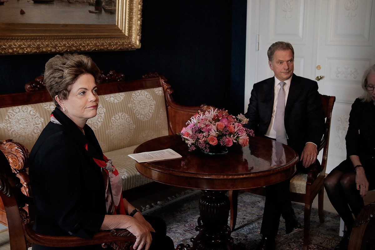 President of Brazil, Dilma Rousseff, and the Finnish President, Sauli Niinistö, ready to start official discussions at the Presidential Palace in Helsinki on October 20 2015. Picture: Tony Öhberg for Finland Today