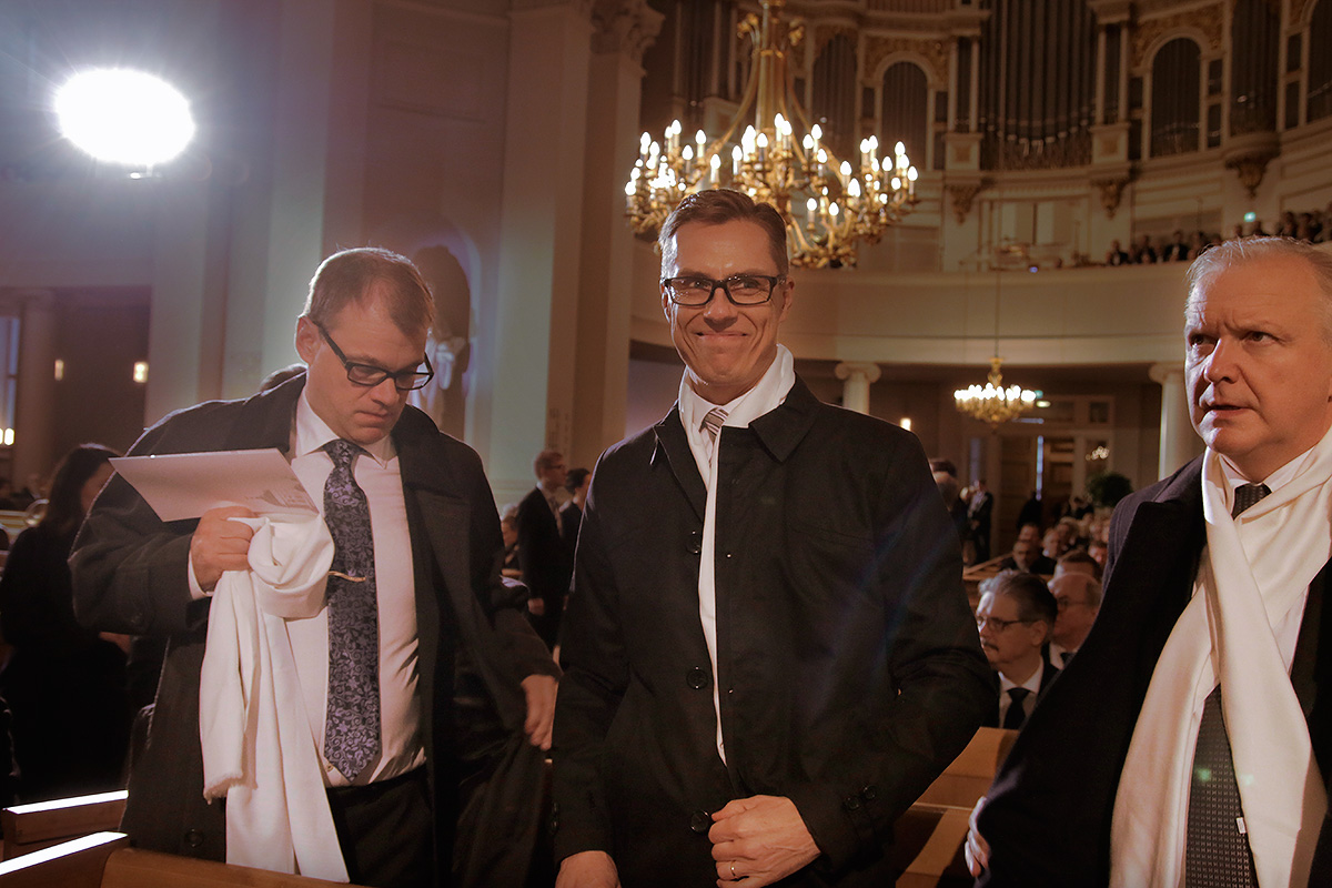 Prime minister Juha Sipilä, finance minister Alexander Stubb, and economic minister Olli Rehn attending the Ecumenical jubilee worship at the Helsinki Cathedral. Picture: Tony Öhberg for Finland Today