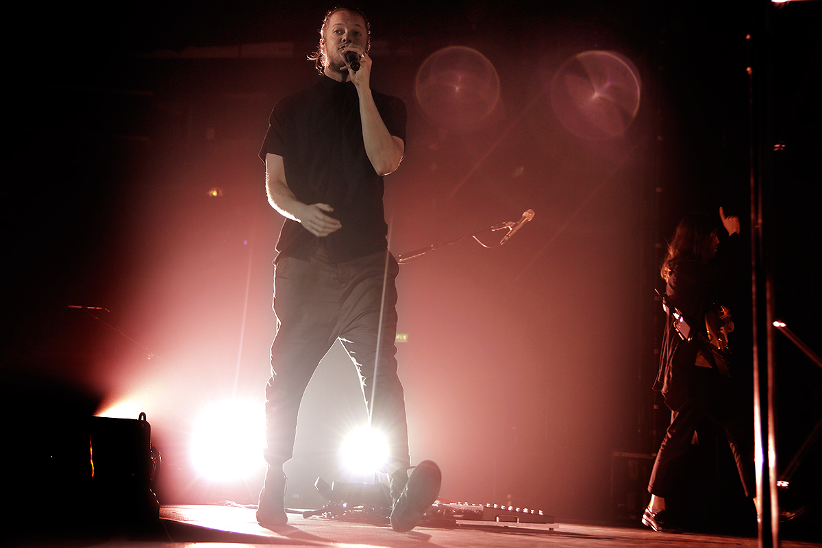 Dan Reynolds, the vocalist of Imagine Dragons, grabbing the attention of the audience at the catwalk of the stage at Helsinki Arena in Helsinki, Finland on January 27 2016. Picture: Tony Öhberg for Finland Today