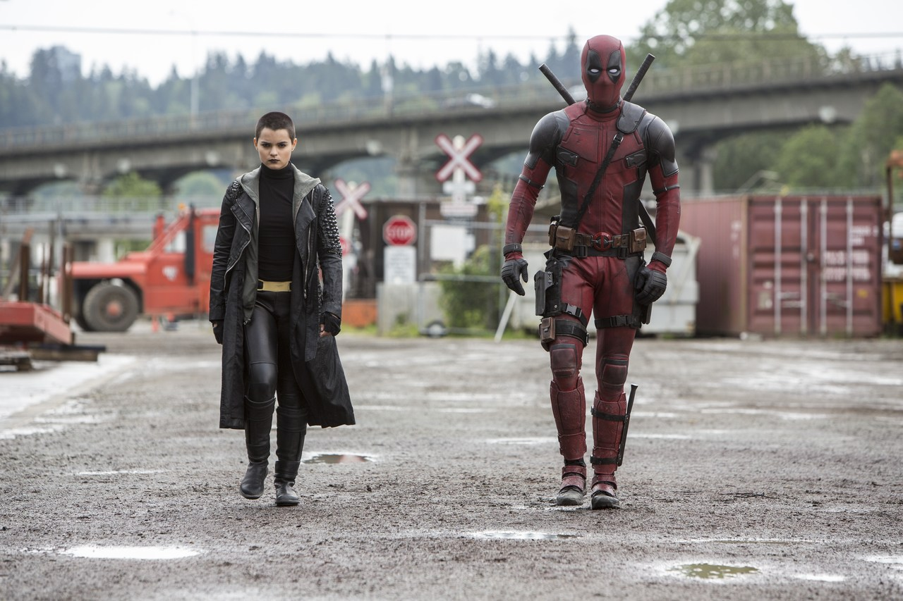 Brianna Hildebrand as Negasonic Teenage Warhead walking next to Ryan Reynolds as Deadpool. Picture: 2015 Twentieth Century Fox Film