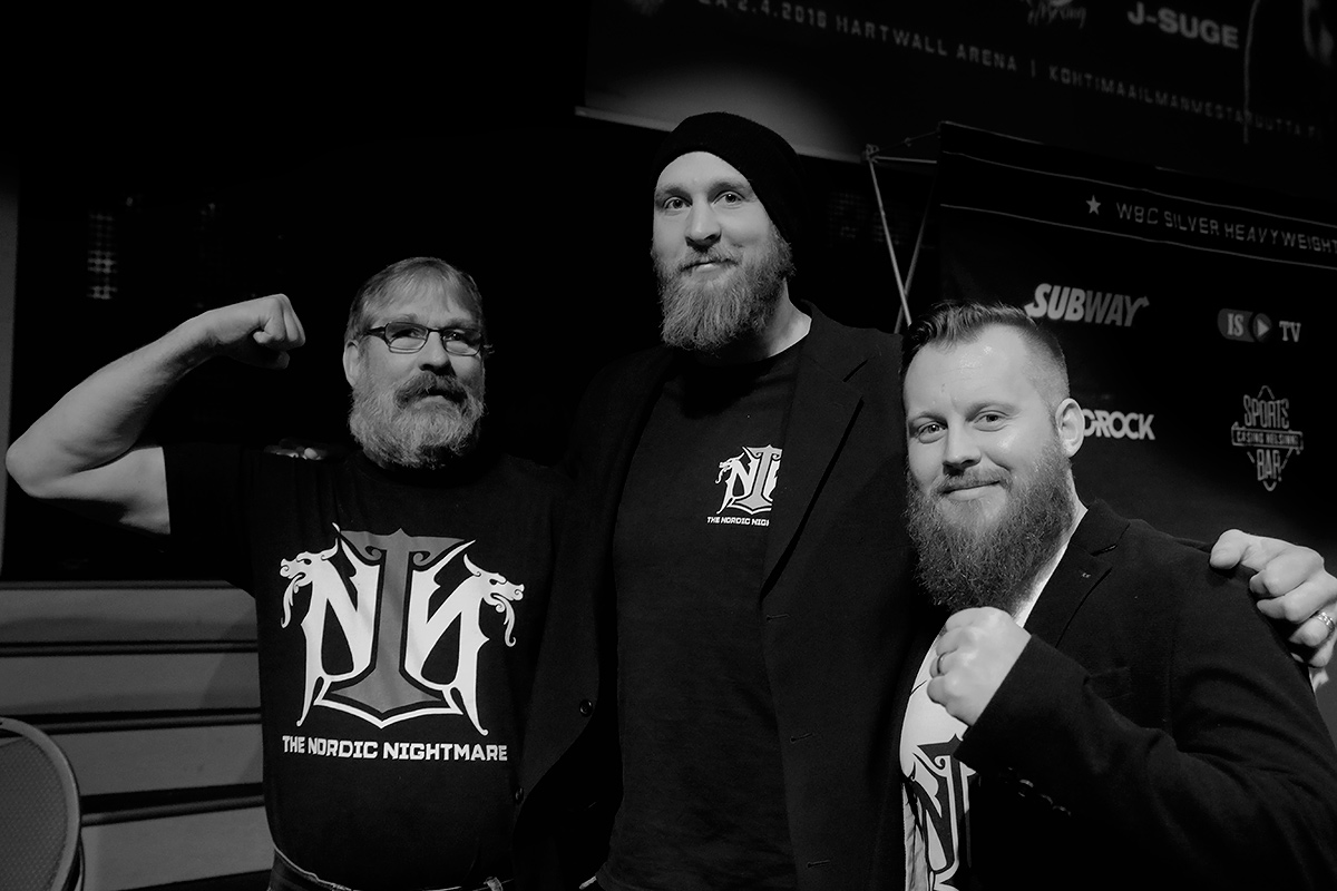 Team Helenius is confident of the win over Duhaupas. From left, manager and father Karl Helenius, Robert Helenius and trainer Johan Lindström at the Apollo Live Club in Helsinki on Monday February 8 2016. Picture: Tony Öhberg for Finland Today