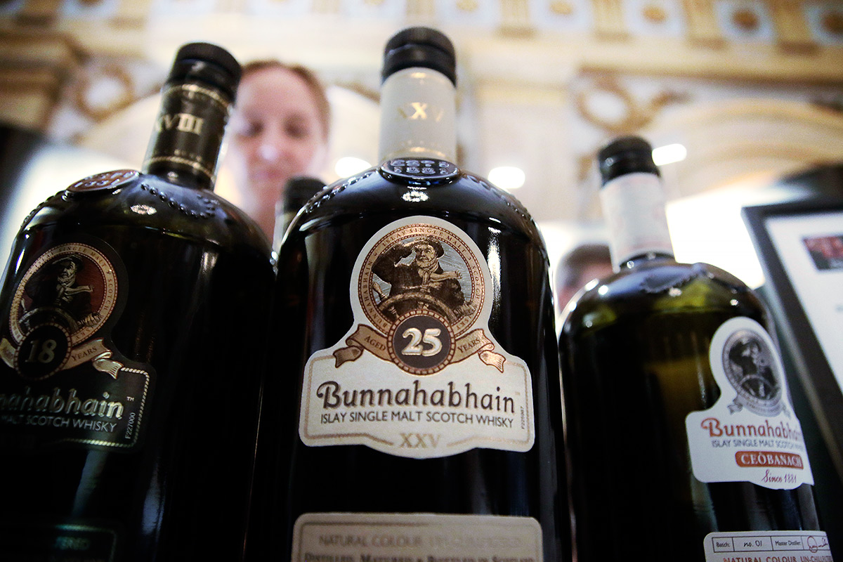 Bunnahabhain 25-year-old single malt Scotch whisky is one most sophisticated spirits we've ever tasted at the annual UISGE whisky fair at Vanha in Helsinki. Picture: Tony Öhberg for Finland Today