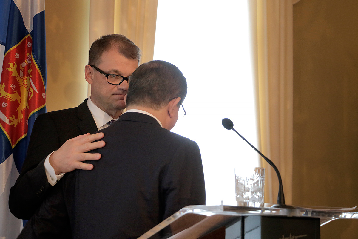 Prime minister Sipilä and Davutoğlu leaving the press conference. Picture: Tony Öhberg for Finland Today