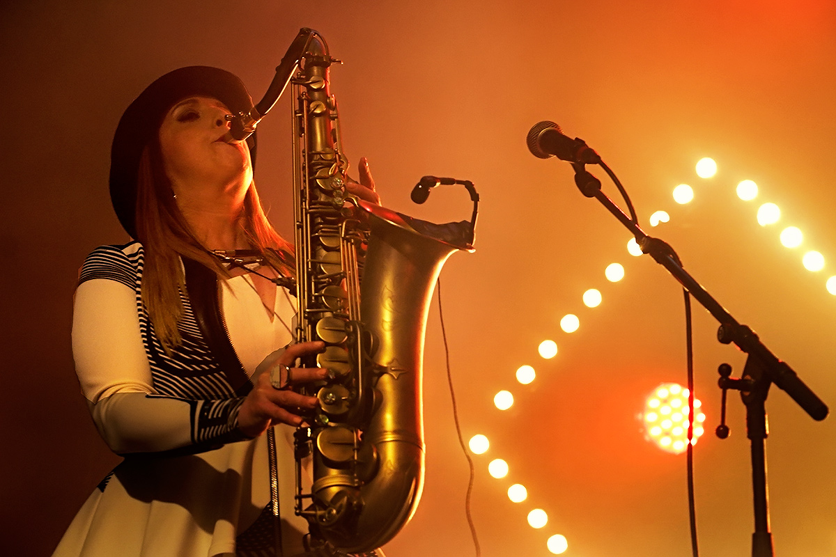 Anna Brooks of Brooklyn Funk Essentials putting her tenor saxophone to work. Picture: Tony Öhberg for Finland Today