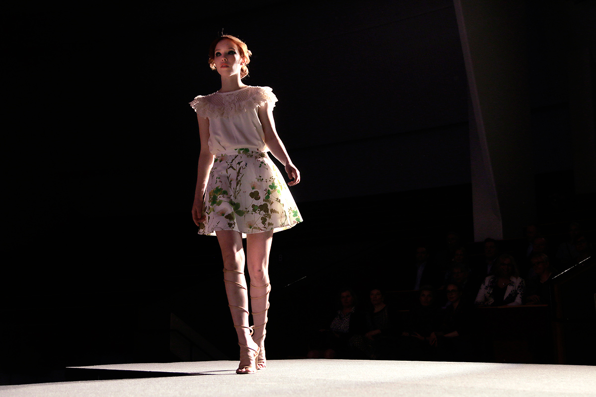 A bibbed blouse tucked into a botanical skater skirt. Picture: Tony Öhberg for Finland Today