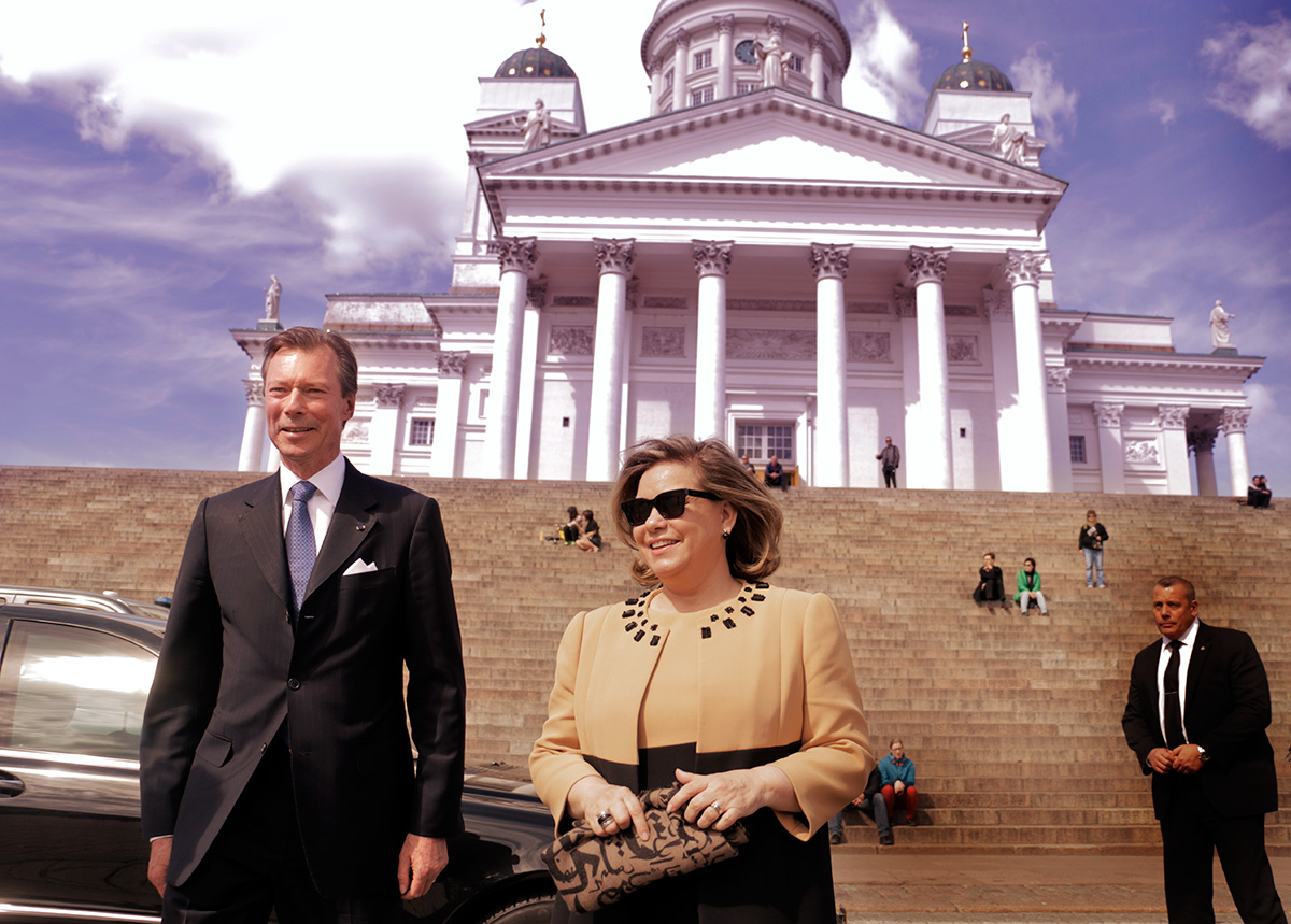 Grand Duke Henri of Luxembourg and Grand Duchess Maria Teresa visiting the Senate Square in Helsinki, Finland on May 11 2016. Picture: Tony Öhberg for Finland Today