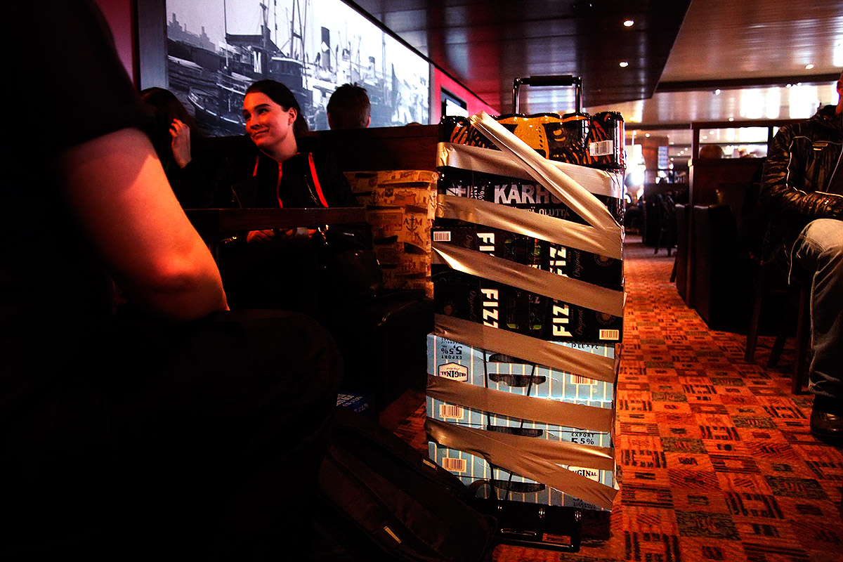 Stacks of beer boxes to bring home at an Estonian cruise ferry traveling to Helsinki. Picture: Tony Öhberg for Finland Today
