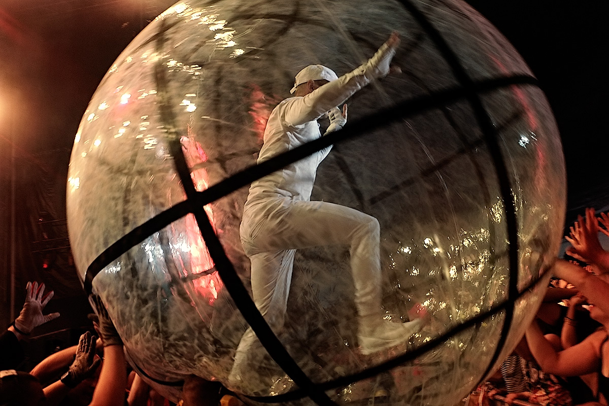 Diplo from Major Lazer crowd-surfing in a transparent hamster ball. Picture: TonyÖhberg for Finland Today