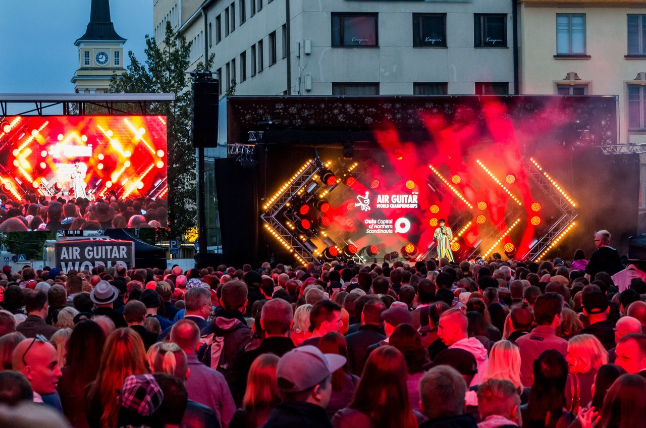 Thousands of spectators gather at the Rotuaari Square to witness the air guitar finals. Picture: Ivika Jäger for Finland Today