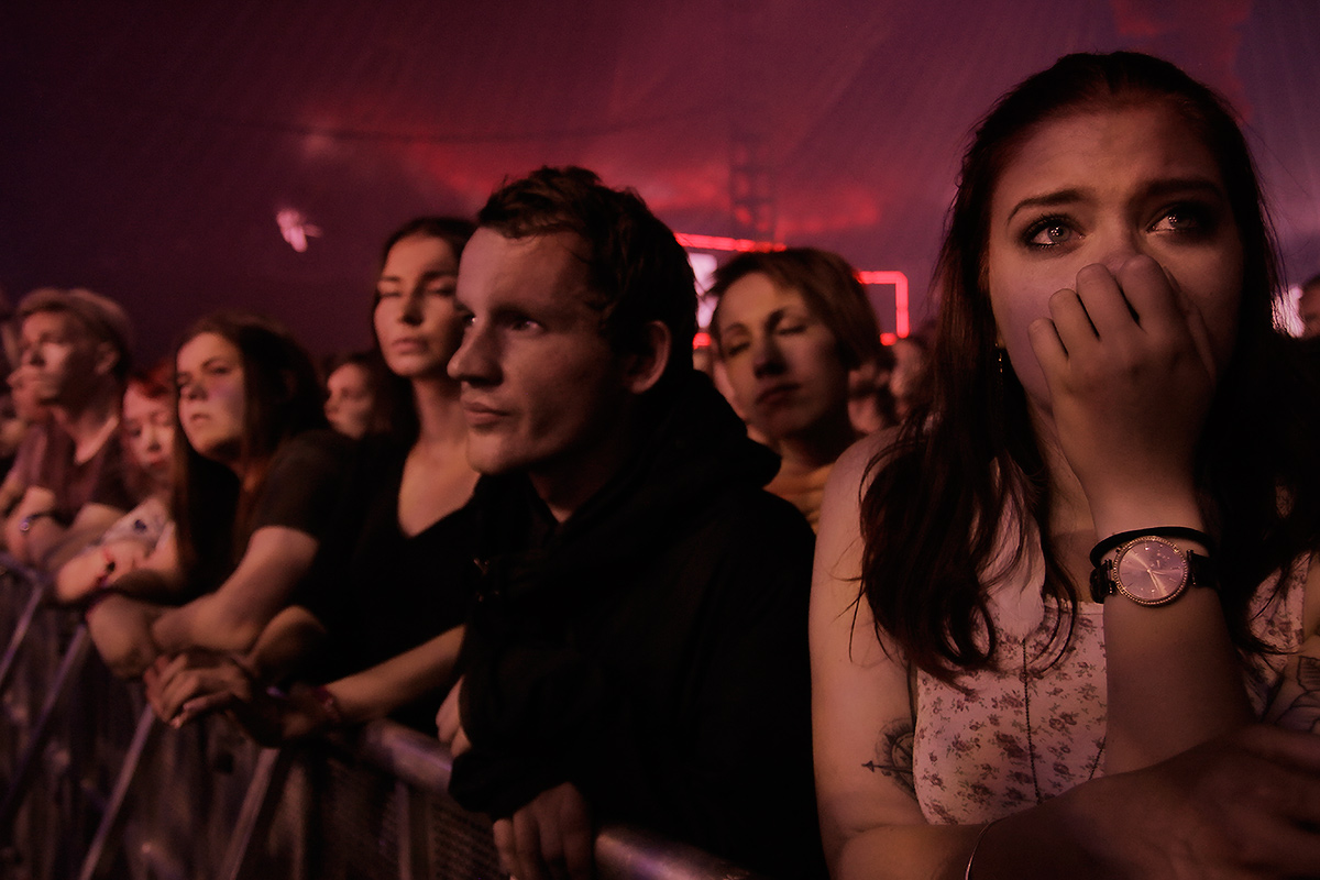 Thousands of spectators are packed into the Red Arena tent to listen to the performance of the English indie rock group Daughter at Flow Festival in Helsinki, Finland on August 14 2016. Picture: Tony Öhberg for Finland Today
