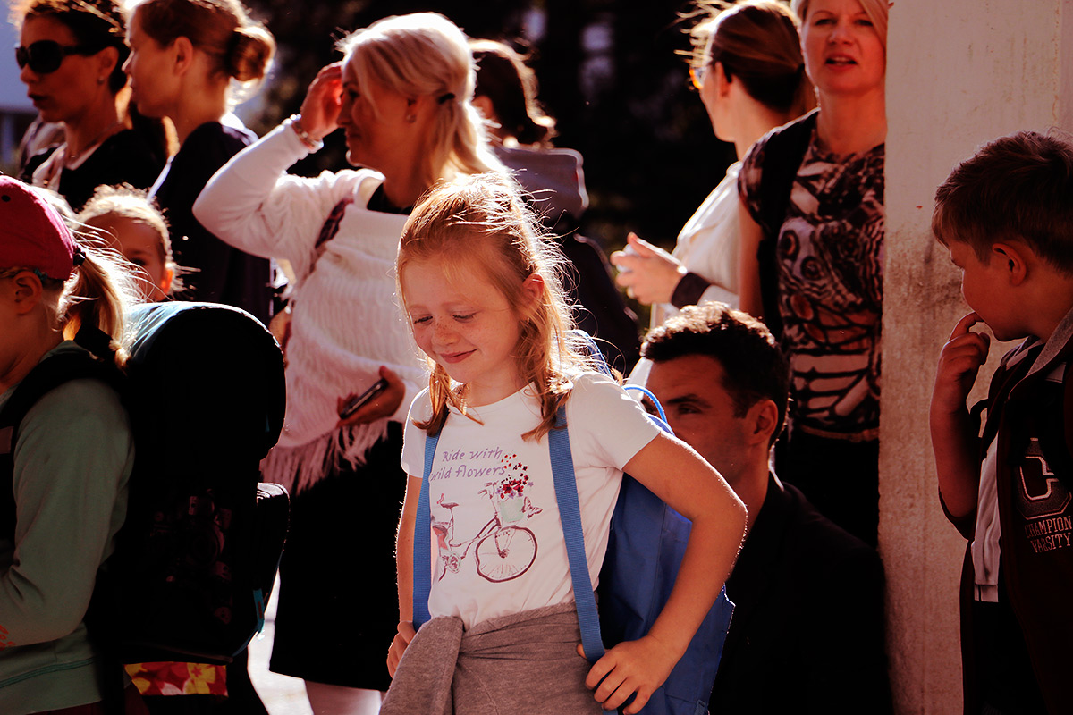 Veera Putkonen, 7, is waiting for the start of her very first school day at Taivallahden koulu in Helsinki, Finland on August 11 2016. Picture: Tony Öhberg for Finland Today