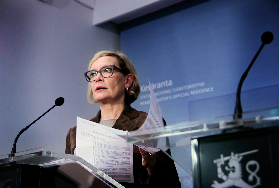 Paula Risikko, the minister of the interior, explaining the steps that will be taken against extremist organizations at Kesäranta in Helsinki, Finland on September 26 2016. Picture: Tony Öhberg for Finland Today