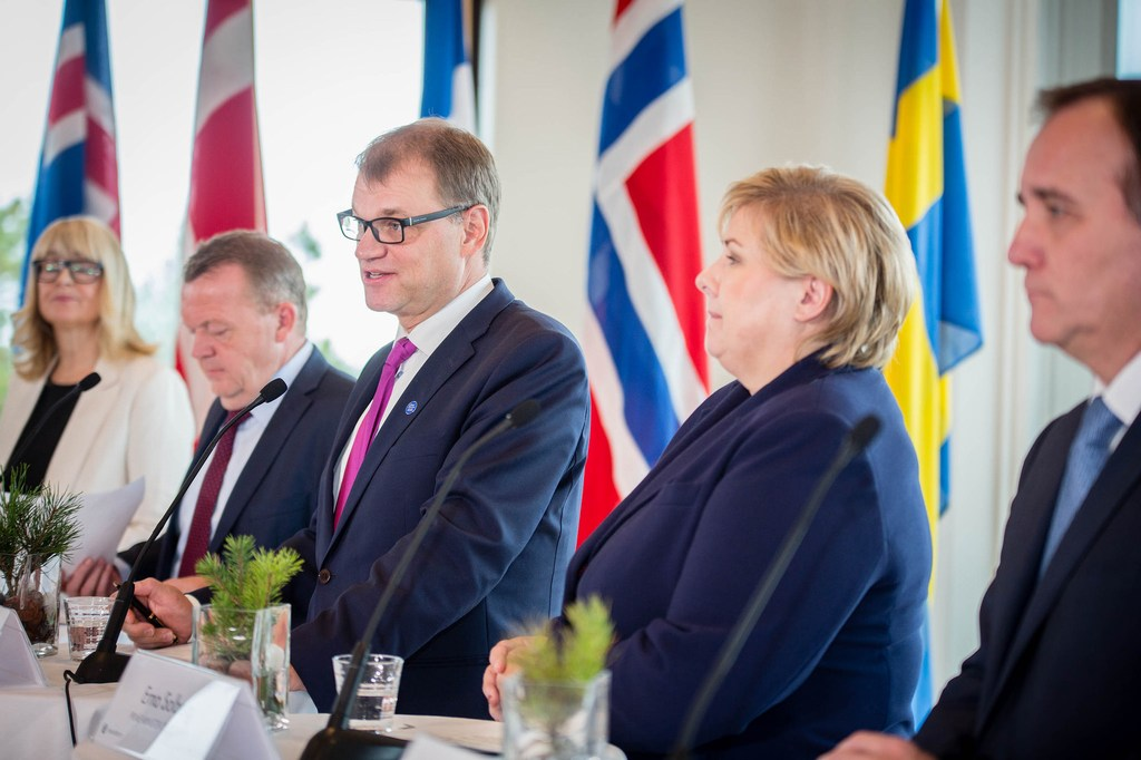 Prime Minister Juha Sipilä with his Nordic counterparts at a press conference in Åland during the Nordic premiers' annual unofficial meeting on September 28 2016. Picture: Laura Kotila / The Finnish Government