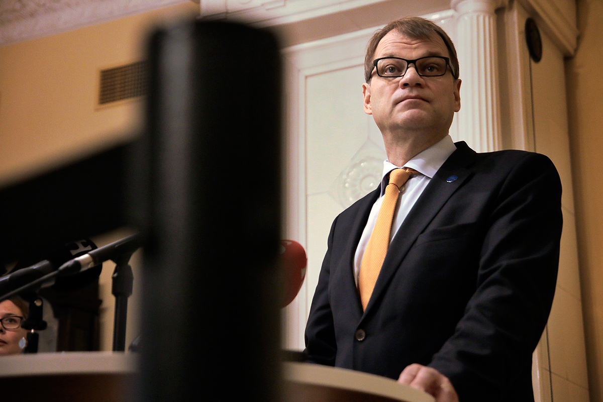 Prime Minister Juha Sipilä commenting on the results of the U.S. presidential elections at the Government Palace in Helsinki, Finland on Wednesday, November 9. Picture: Tony Öhberg for Finland Today