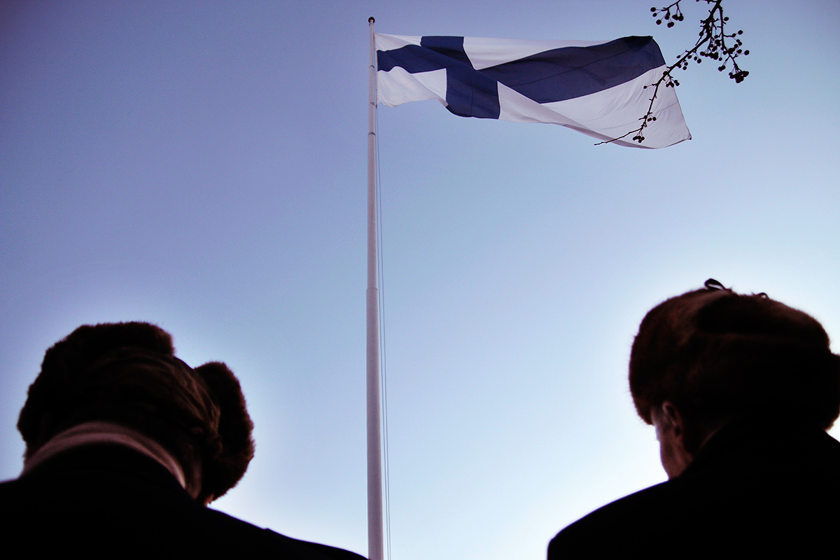 Finnish war veterans observing the hoisting of the national flag at Tähtitorninmäki, marking the beginning of the 99th Independence Day celebrations in Helsinki, Finland on December 6, 2016. Picture: Tony Öhberg for Finland Today