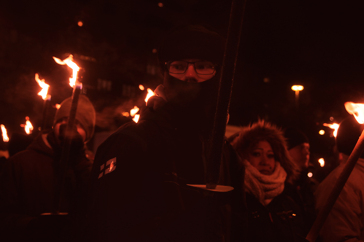 Protesters attending the 612 torchlight procession, a far-right march of patriots, in the freezing cold of minus 11 degrees Celsius at Töölöntori. Picture: Tony Öhberg for Finland Today