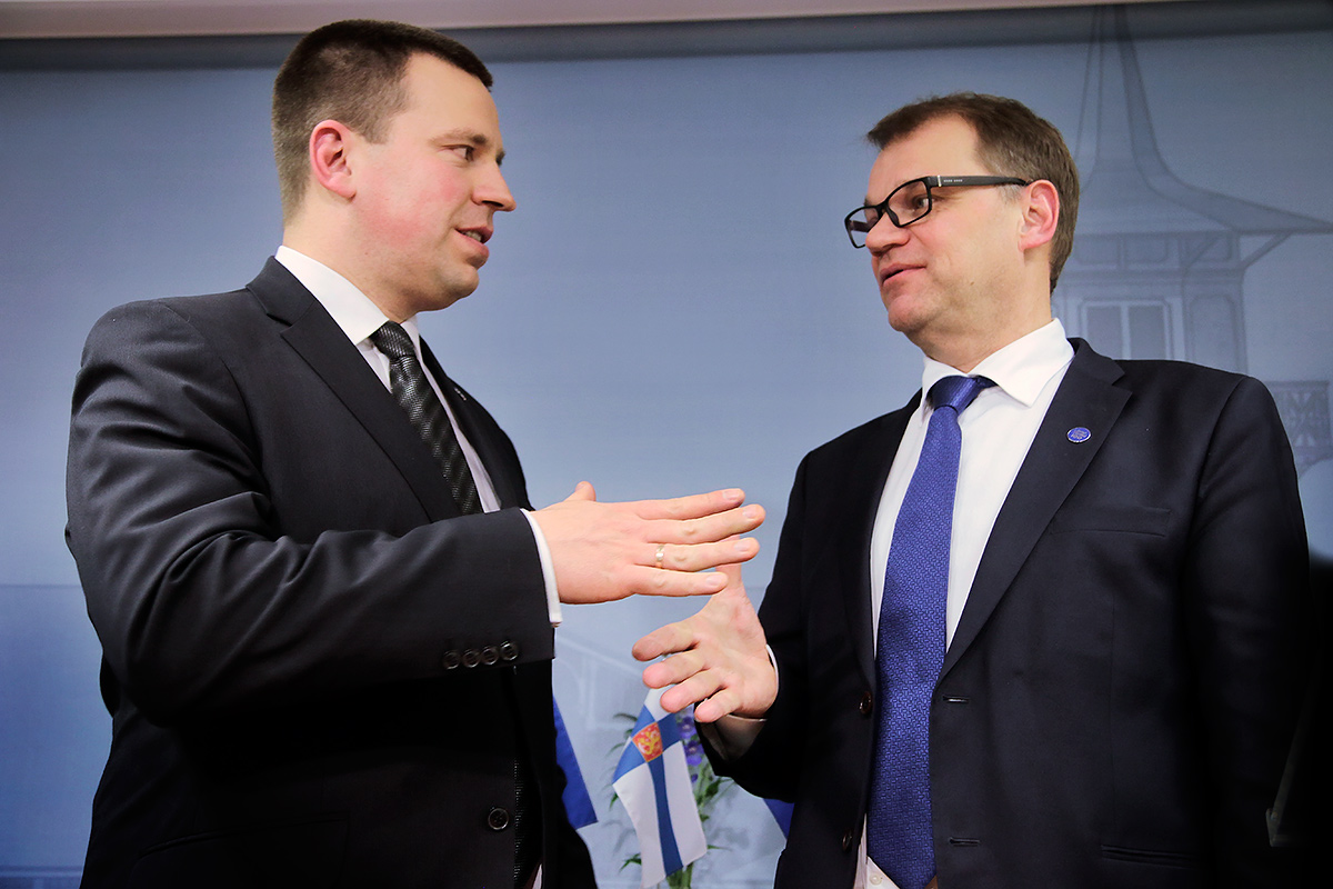 Jüri Ratas, the Estonian prime minister, meets with his Finnish counterpart, Juha Sipilä, at the prime minister's official residence, Kesäranta, in Helsinki, Finland on Wednesday December 7 2016. Picture: Tony Öhberg for Finland Today