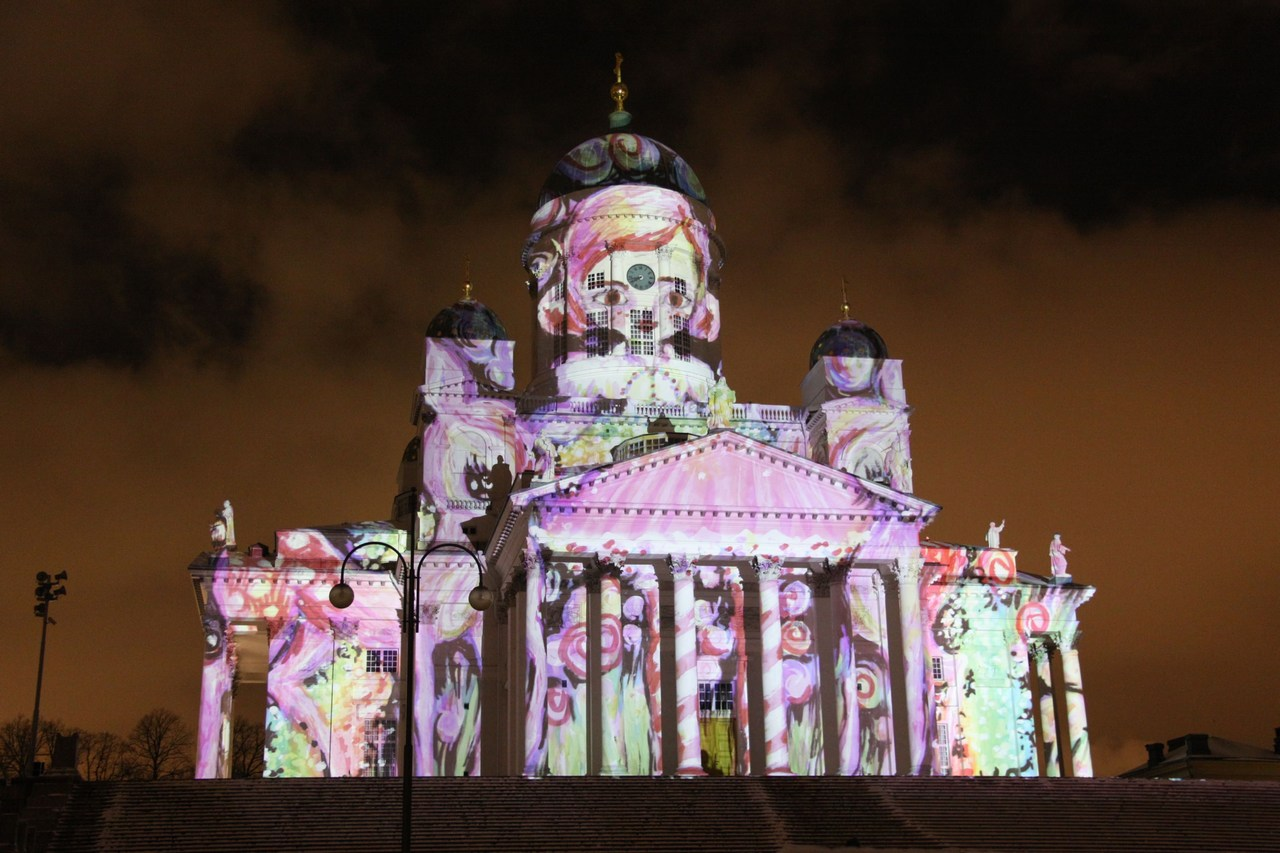 Images of Joy displays eight different images from eight different artists on the surface of the Helsinki Cathedral during the LUX light festival on January 8, 2016. Picture: Rory Barr for Finland Today