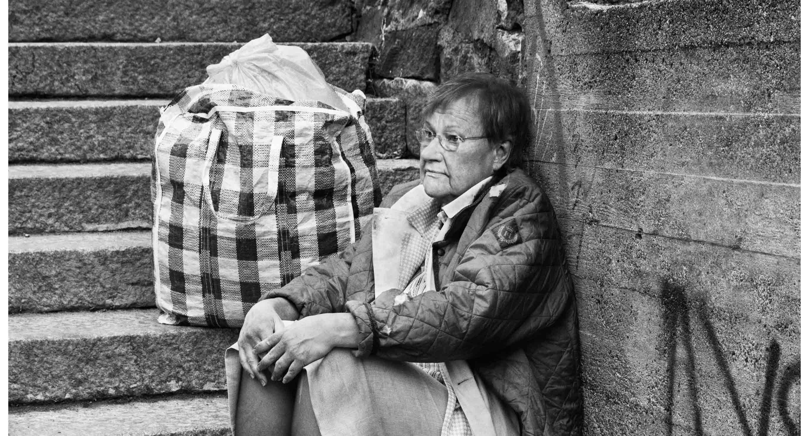 President Tarja Halonen Poses As a Homeless Lady In a Campaign For the Salvation Army