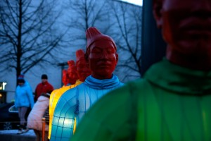 Hundreds celebrate Chinese New Year of the Goat at the Lasipalatsi Square in Helsinki