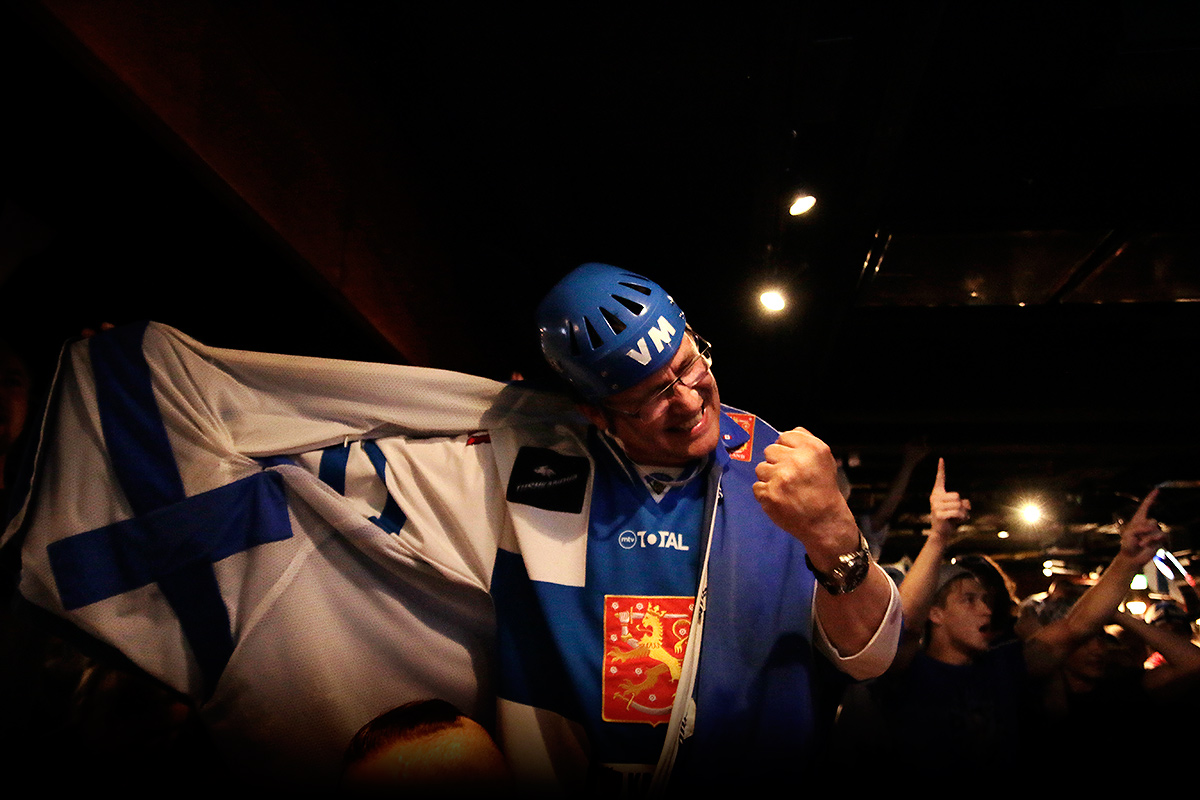 A Finnish hockey fan celebrating the victory of Finland over Russia in the 2016 IIHF World Championship semi-final ice hockey match at the Sports Academy sports bar in Helsinki, Finland on May 21 2016. Picture: Tony Öhberg for Finland Today