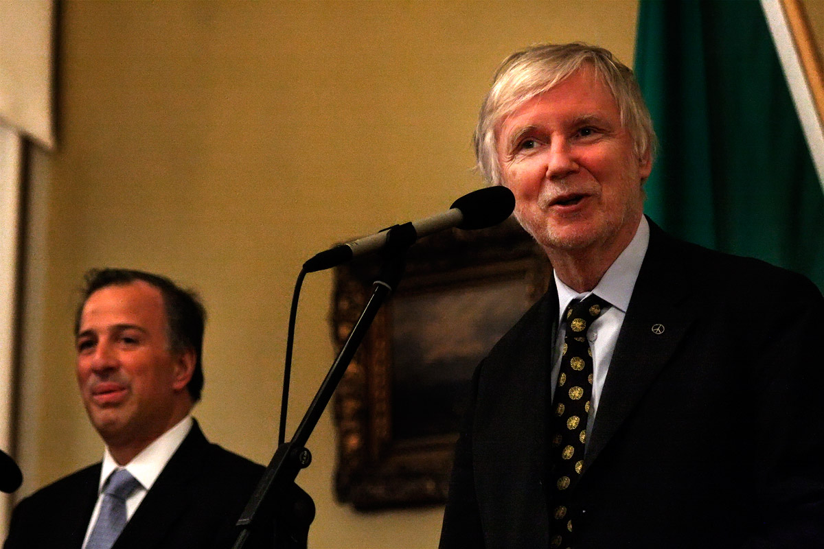 Jose Antiono Meade, the secretary of foreign affairs of Mexico, met with foreign minister Erkki Tuomioja on Friday afternoon at the Government Banquet Hall in Helsinki on Ferbruary 20 2015. Picture: Tony Öhberg for Finland Today