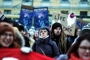 Demonstrators Rally Against Killing of the Endangered Wolf