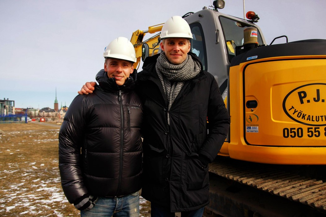 Jasper Pääkkönen and his partner in business Antero Vartia photographed in March 2015 when Löyly was still just a hole in the ground. Picture: Tony Öhberg for Finland Today