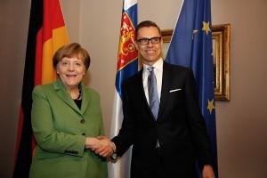 Macho-Eating Merkel Visits Stubb Over Lunch