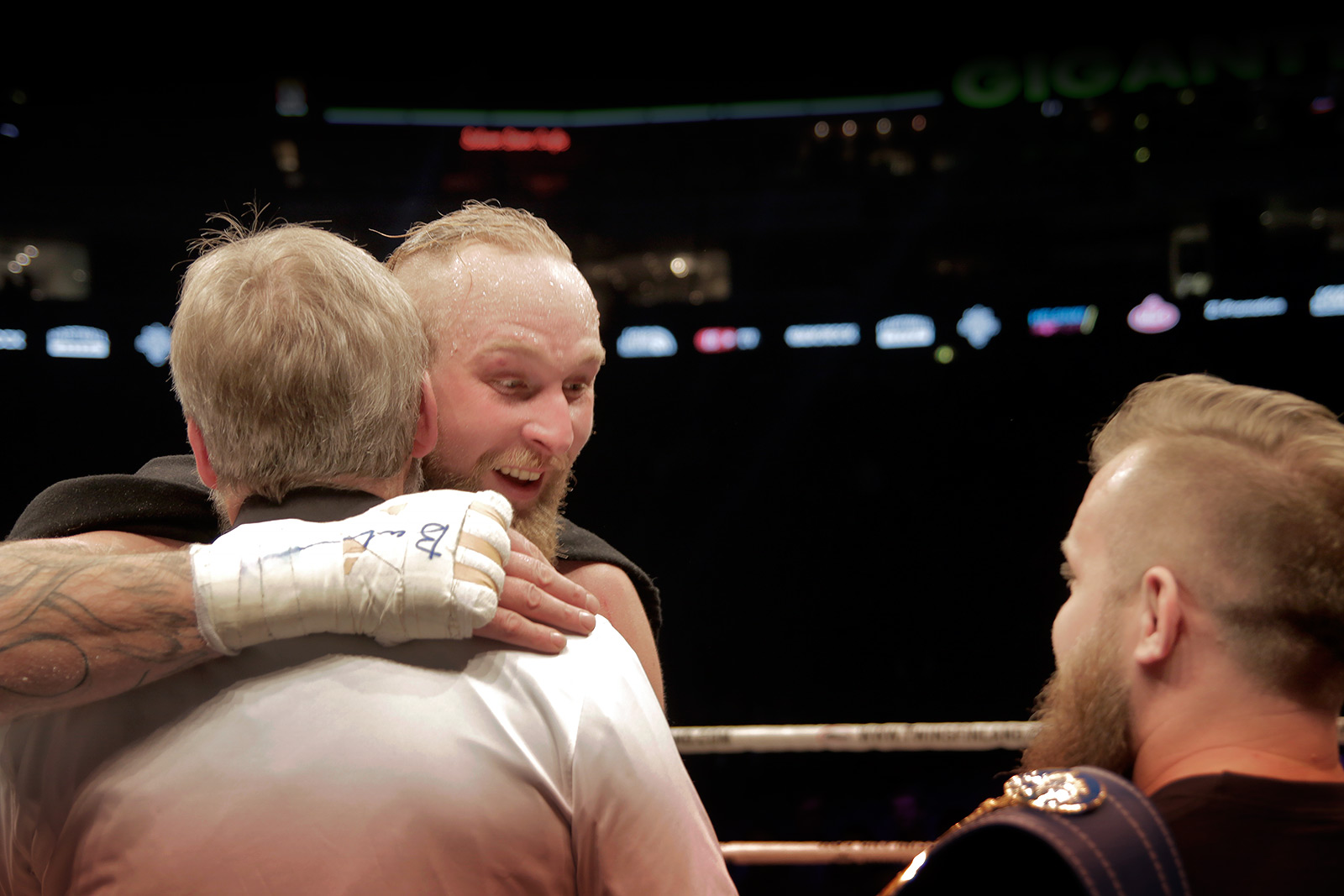 Helenius hugs his father, Karl. Picture: Tony Öhberg for Finland Today