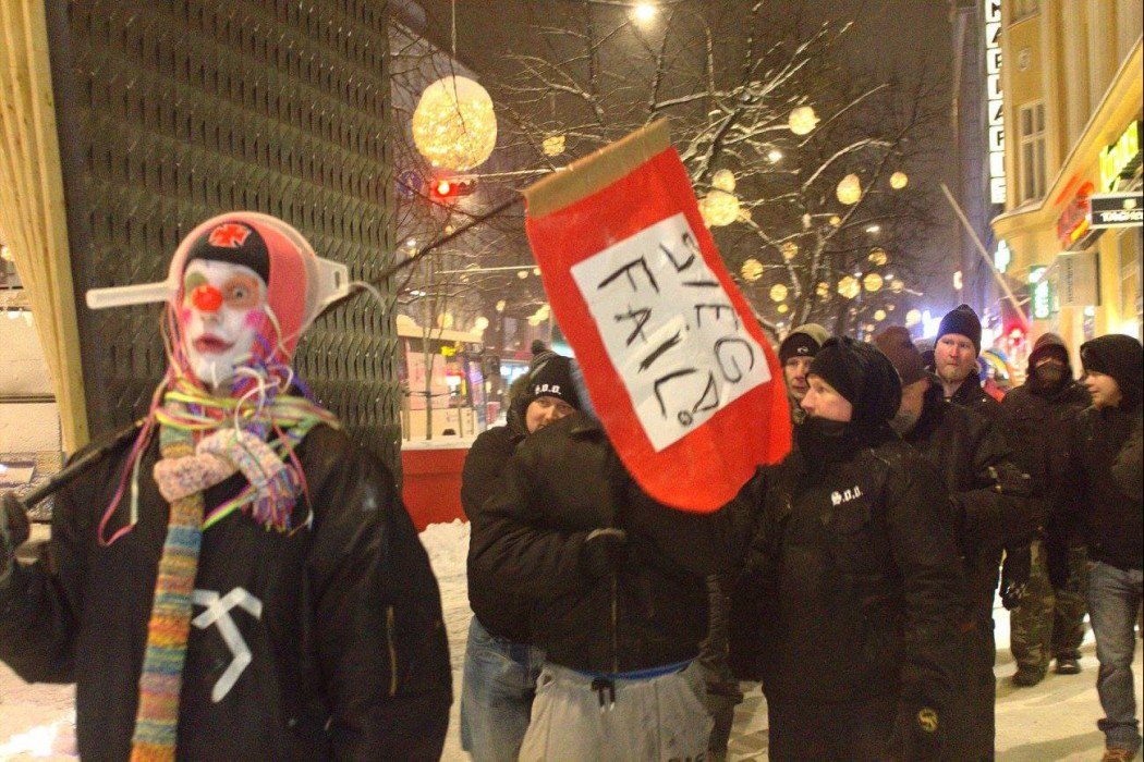 Loliders of Odin, a street group founded to oppose and make fun of the anti-immigrant group 'Soldiers of Odin', patrolling in Tampere on Saturday January 16 2016. Picture: Loldiers of Odin