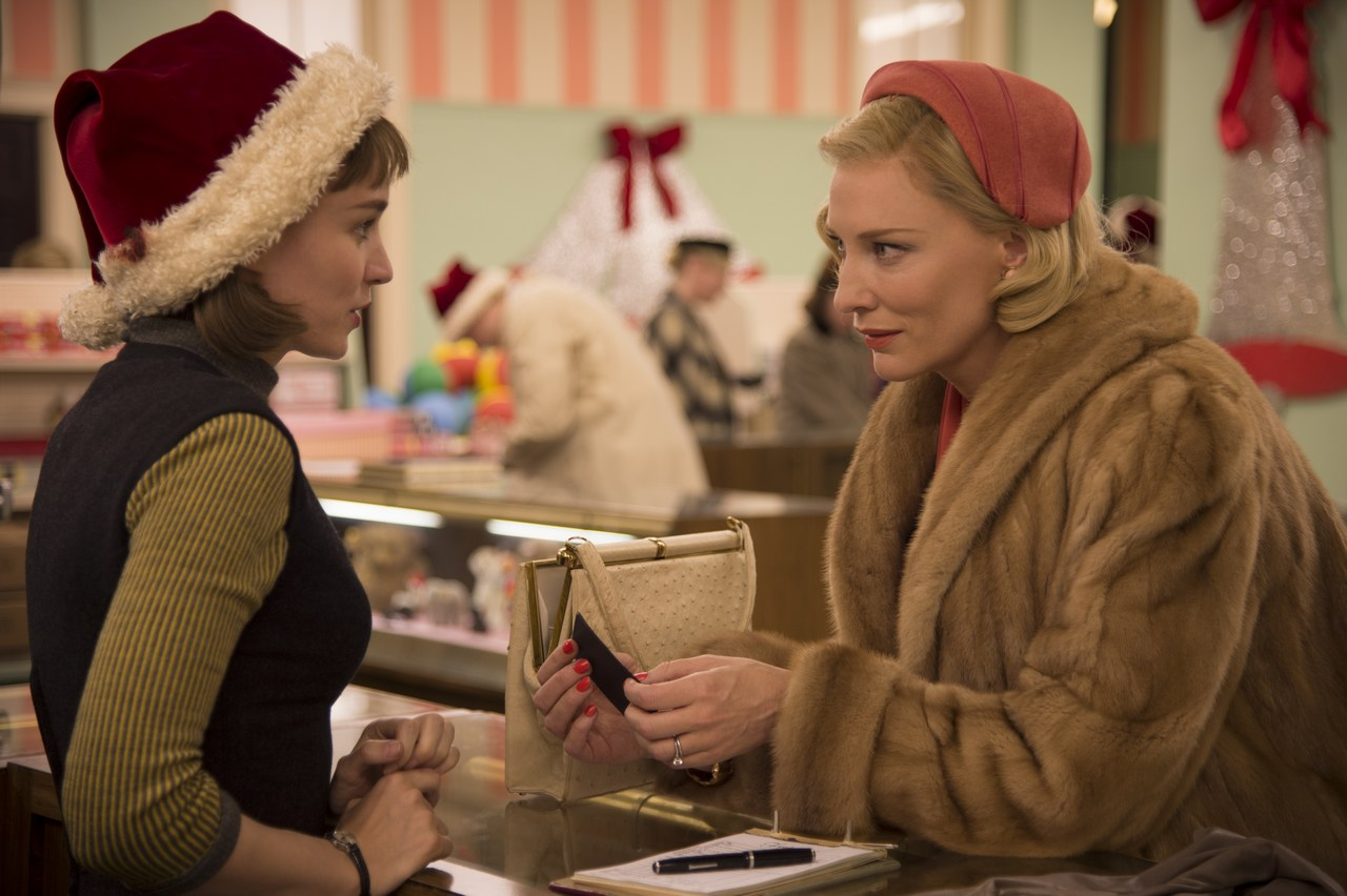 Sparks flying between Therese (Mara Rooney) and Carol (Cate Blanchett).