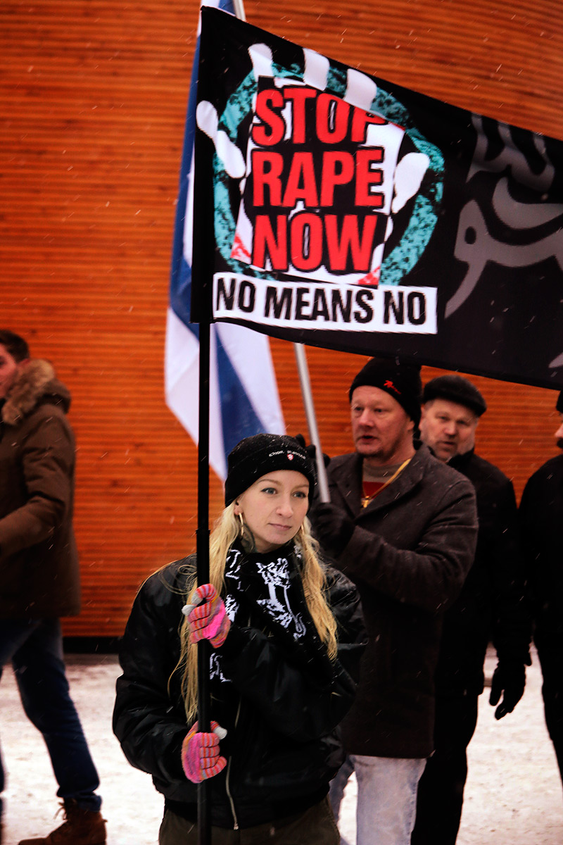A woman demanding the rapes to stop. Picture: Tony Öhberg for Finland Today