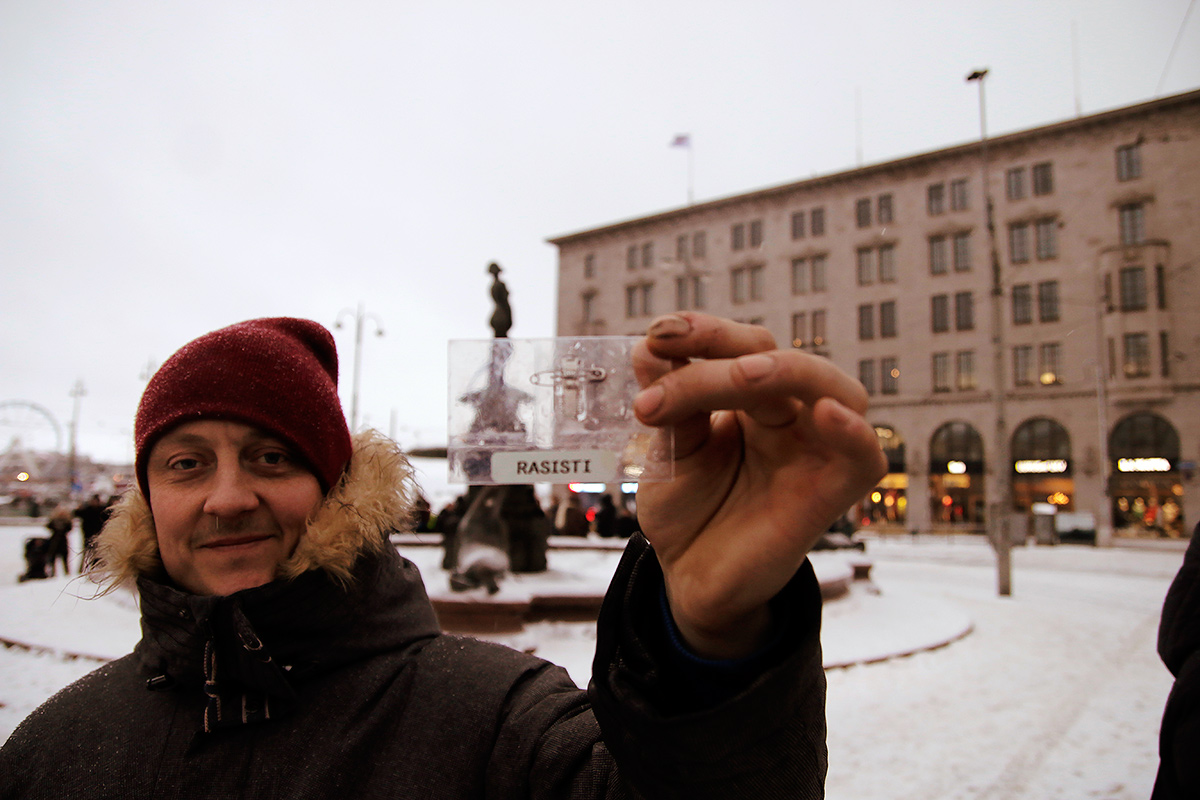 Markku pulling out the racist card at the Market Square. Picture: Tony Öhberg for Finland Today