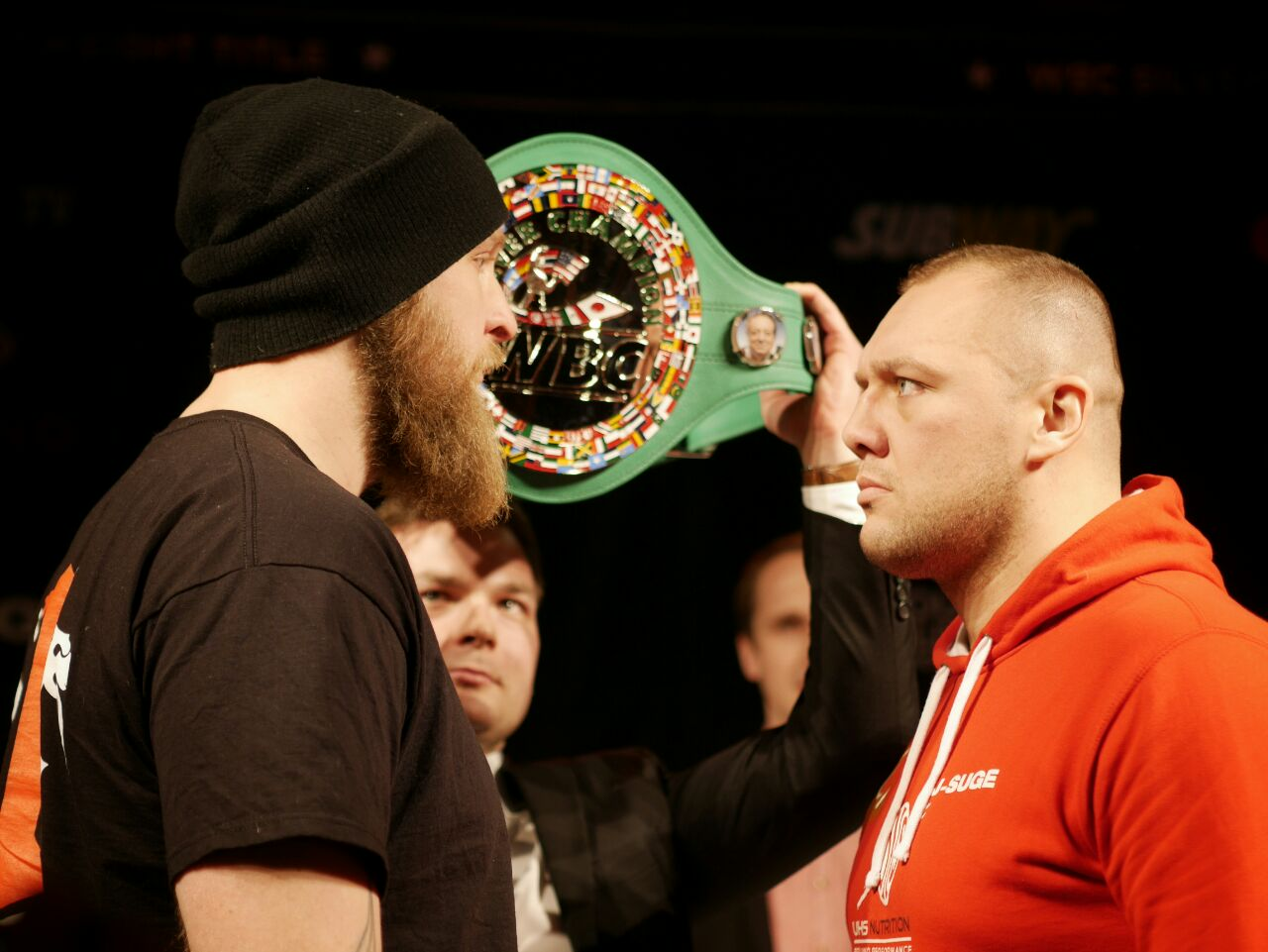Robert Helenius and Johann Duhaupas face each other during an intense staredown at Casino Helsinki on Friday March 4 2016. Picture: Morgan Walker for Finland Today