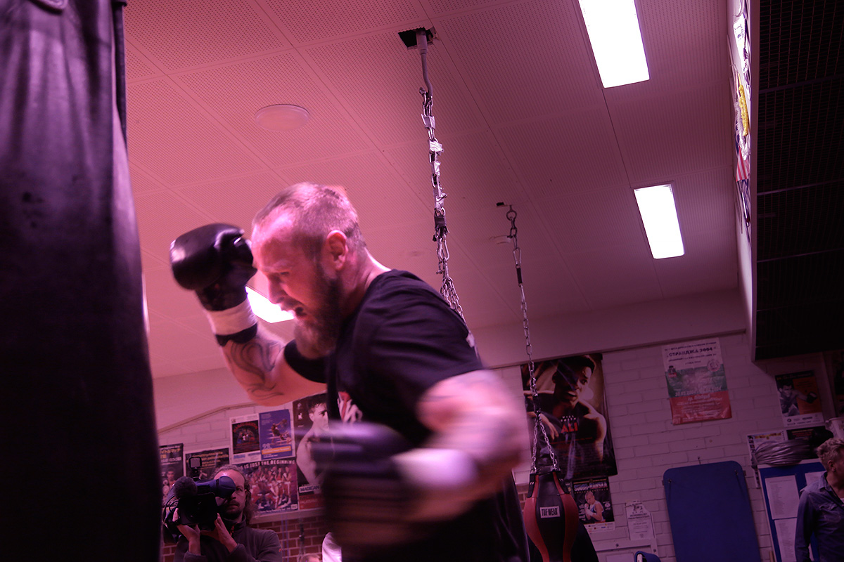 Robert Helenius, the Finnish heavyweight boxer, punishing the heavy bag at Ruskeasuo Sports Hall in Helsinki, Finland on March 31 2016. Picture: Tony Öhberg for Finland Today