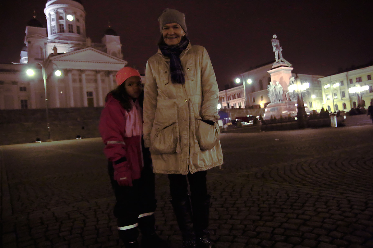 """Sirkka JR, 5, and her grandmother, Sirkka Pykälä, from eastern Helsinki, observed Via Crucis for the third time. """"It's such a sad and dramatic play that we just had to come again,"""" the grandmother said."""