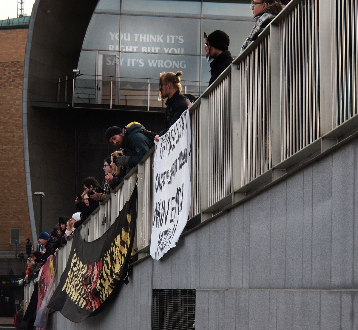 Kiasma unintentionally joins the protest. Photo by Morgan Walker, Finland Today