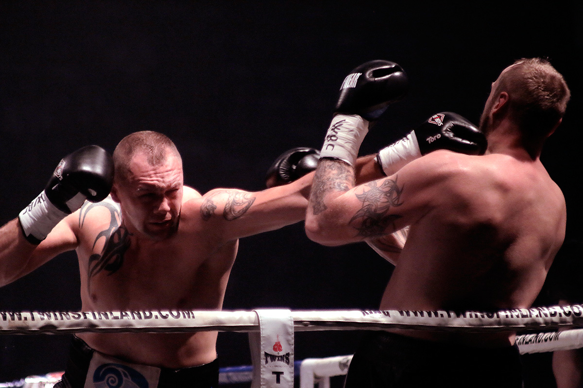 Duhaupas landing a left jab. Picture: Tony Öhberg for Finland Today