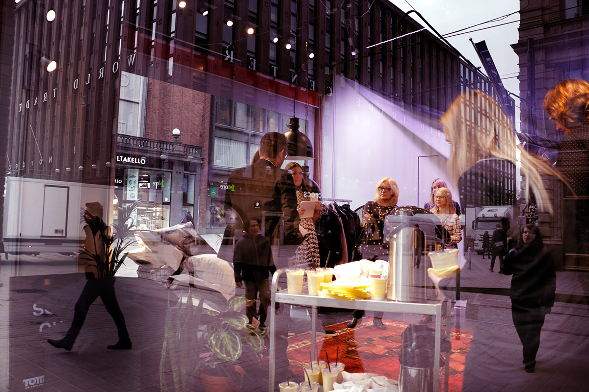 The shop window in the corner of Aleksanterinkatu and Keskuskatu at the Helsinki centre offers an overview to the renewed Hullut Päivät concept. On Tuesday April 5, the media was invited to visit the window for an exclusive look. Picture: Tony Öhberg for Finland Today