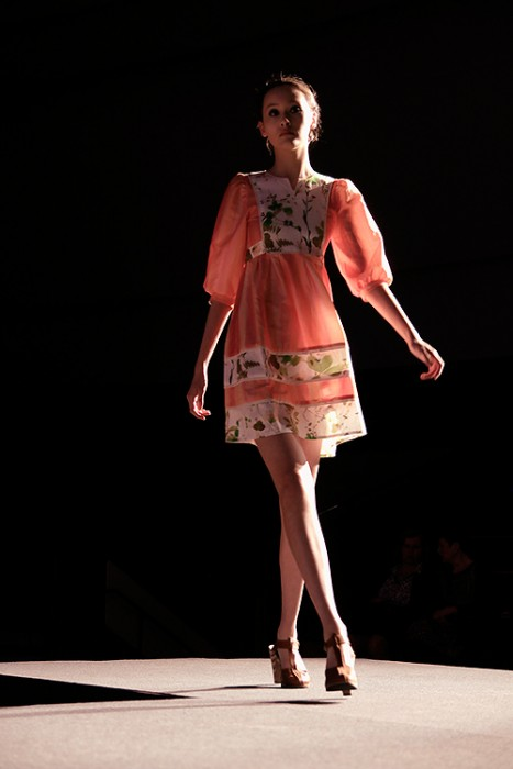 Finland Today fashion reporter's favourite dress: when coral meets the garden. Picture: Tony Öhberg for Finland Today